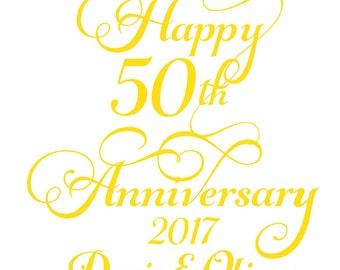 Instant Print Download Happy 50th Anniversary Wine Label