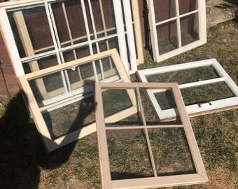 ON SALE wood window frames - wood window panes - 6 pane wood windows - vintage wood windows - rustic wood windows - wood window for wedding