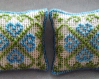 Hand Stitched Dolls House Cushions Cross Stitch Blue  Hearts Pattern 1/12th scale