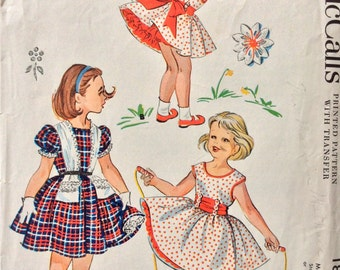McCall's 1869 girls dress and petticoat size 4 or size 6 vintage 1950's sewing pattern