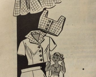 Mail order 9192 girls halter bra top, shorts, skirt & jacket size 4 vintage 1940's sewing pattern Uncut  Factory folds