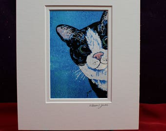 Cute Cat Painting, Tuxedo Black and White Cat Matted Print, Blue Abstract Cat Wall Art, Gifts for her, him, children's wall art, peeking cat