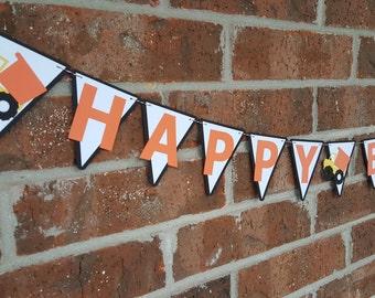 Tonka truck birthday banner... Happy Birthday... Baby Boy... Dirty Truck
