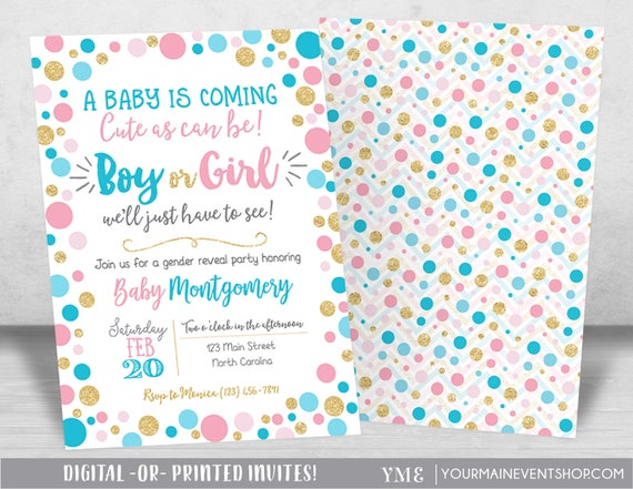 Gender Reveal Invitation, Gender Reveal Party Invite, Neutral Baby Shower Invitation Printable, Boy or Girl, He or She