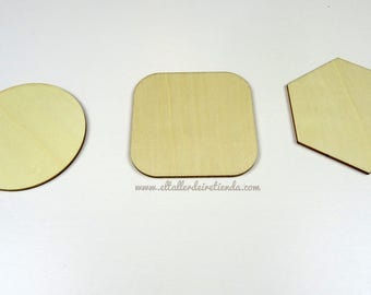 Set of 6 coasters of wood (3 shapes available)