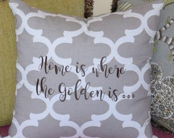 Grey Throw Pillow || Home is Where the Golden is Quatrefoil Accent Pillow Cover || Square Decorative Pillow by Three Spoiled Dogs