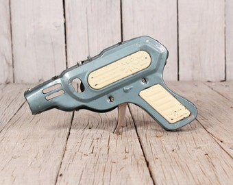 Vintage tin toy gun - Pistol tin toy - Mechanical gun toy - Old rusty gun tpy