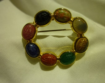 A16 Gold Toned and Multicolored Scarab Beads Pin.