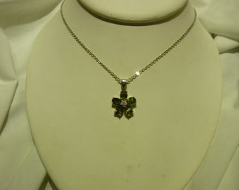 A69 Green & Clear Crystals Flower Pendant on a Stainless Steel Chain.