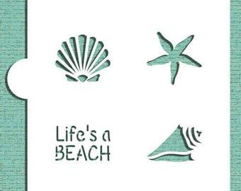 "LIFE'S A BEACH Stencil ""Designer Stencils"" 5"" x 5"""