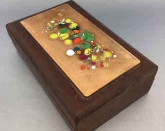 Mid Century Modern Wooden Trinket Box Desk Box Enamel Copper Cloisonné Vintage
