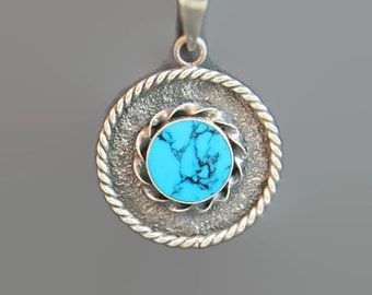 Vintage Turquoise Sterling Silver Necklace Pendant Chain 925