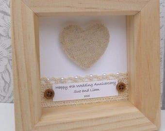 4th anniversary gift, 4th wedding anniversary gift,linen anniversary present, linen anniversary,personalised framed gift, 4 year anniversary