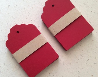 Red Medium Scalope Tags make  from Recycled Paper