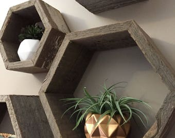 Honeycomb Shelves, Hexagon Shelves, Reclaimed Barnwood Shelves
