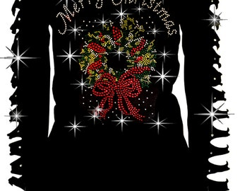Bling Rhinestone T-Shirt,Merry Christmas with Wreath Cut Out Long S~3XL