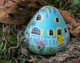 Painted Fairy Garden Cottage Rock, Blue Miniature Stone House, Gnome Home, Gardener Gift