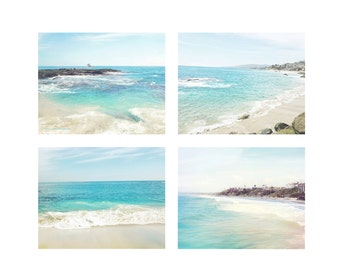 Beach Photography Set of 4, Beach Prints, Wall Decor, Aqua Decor, Coastal Art, California Wall Art Prints, Surf Decor, Ocean Photos