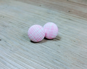 Gifts for Mom ~ Mothers Day Gift ~ Stud Earrings ~ Pink Studs ~ Pink Plaid Earrings ~ Bridesmaid gift ~ Birthday Gift ~ Pink Earrings