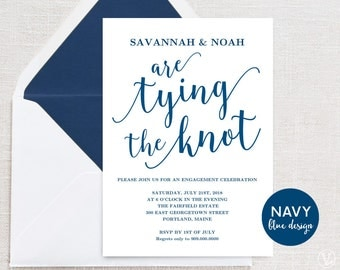 Navy Blue Engagement Party Invitation, Printable Engagement Announcment, INSTANT DOWNLOAD, Editable Text, Modern Calligraphy, The Knot VW11