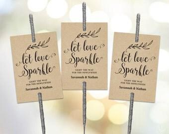 Sparkler Tags Tempate, Printable Wedding Sparkler Tags, Let Love Sparkle Tags, VW01