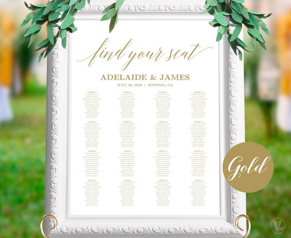 Gold Wedding Seating Chart Poster Printable Wedding Seating