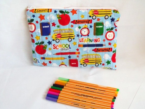 childs zipped pouch, kids pencil case, felt tip holder, colouring pencils, quilted pouch,  blue cotton fabric