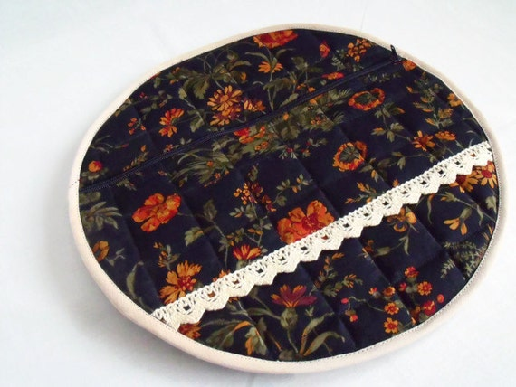 nightwear bag, pyjama case, nighty storage pouch, lingerie bag, bed wear tidy, navy floral cotton fabric