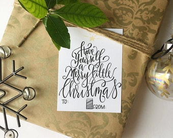 PRINTABLE GIFT TAGS, Merry Christmas, Calligraphy, Hand Drawn, Handmade, Hand Lettered, Digital Download, Instant Download