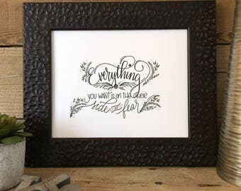 Everything You Want, Hand Lettered, Hand Drawn, Illustrated, Encouragement, Print, Floral, Calligraphy