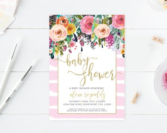 Baby Shower Invitation, Floral Baby Shower Invite, Pink Baby Shower Invite, Printable Baby Shower Invite, Baby Girl Baby Shower, Baby [416]