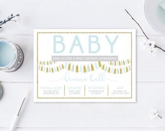 Baby Shower Invitation, Boy Baby Shower Invitation, Baby Shower Invites, Baby Shower, Blue Baby Shower Invitation, Custom Invitations [405]