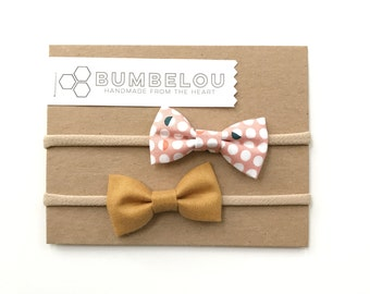 Classic Fabric Bow Set - Mustard + Moon Phase - Headband or Clip