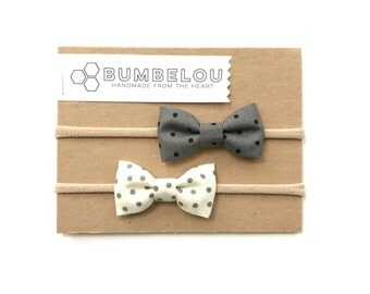Classic Fabric Bow Set - Black Tie Day and Night - Headband or Clip