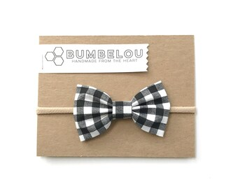 Classic Fabric Bow - Black and White Gingham - Headband or Clip