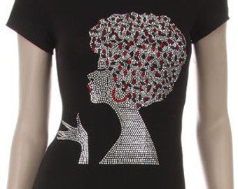 Silver and Red Hair Silver Afro Girl Rhinestud Iron on Shirt