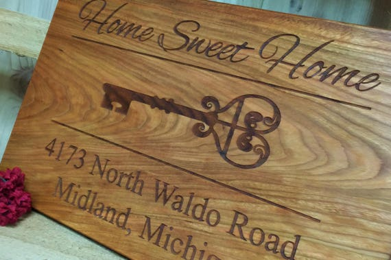 Home Sweet Home Wood Personalized Cutting Board in Maple, Cherry, White Oak or Walnut Wood.