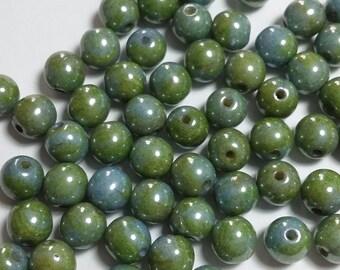 20pcs Blue Green Czech Glass Beads - 6mm Beads - Round Luster Beads - GB301