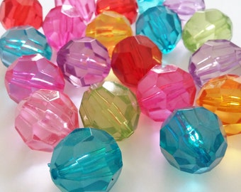 5pcs Large Acrylic Beads - 20mm Beads - Assorted beads - Round Faceted Beads - Plastic Beads - Jewelry Making Supplies - B22693