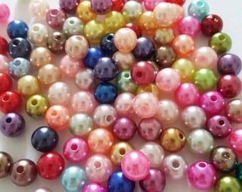 50pcs Assorted Pearl Beads - Acrylic Beads - 8mm Beads - Pearl Imitation - Plastic Beads - Craft Beads - Jewelry Making Supplies - B05246