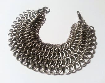 Stainless Steel European 4-1 Chainmail Weave Bracelet