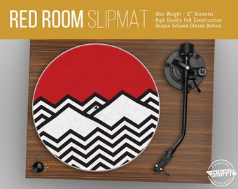 "Red Room Pattern Turntable Slipmat - 12"" LP Record Player, DJ Slipmat- 16oz Felt w/ Glazed Bottom"