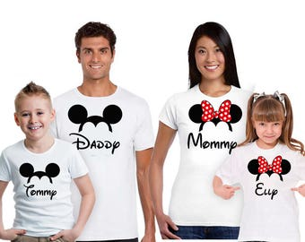 Disney Family Shirts, Mickey, Minnie, Handmade, Custom T-shirt stamp, Mom, Dad, Daughter, Son, Gift for Kids, Mother's Day, Family Gift