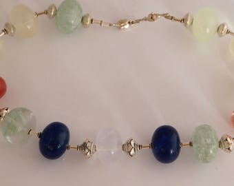 Necklace in Sterling Silver and Quatz in Deep Blue,White/Soft Green/Clear and Peach