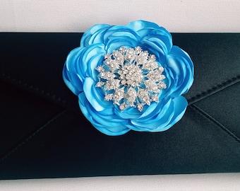 Black and Blue Bridal Clutch with Rhinestone ~ Wedding Clutch, Bridesmaid Clutch ~ Bouquet Clutch- Evening Bag ~ Mother of the Bride, Prom
