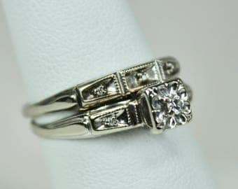 Vintage Ladies 14K White Gold Diamond Bridal Set of Engagement Ring & Wedding Band Hallmark c1940s