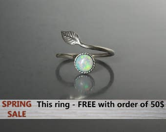 Stack Opal ring. Fire Opal Ring. Opal ring. White Opal Ring. Opal rings for women. Opal ring Sterling Silver. Adjustable Opal ring gift