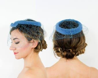 50s Blue Velvet Fascinator | Aqua Ring Fascinator with Bow