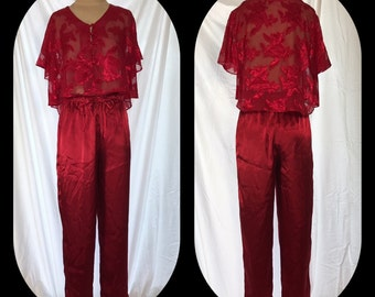 Erika Taylor Lipstick Red Pajama Set with Sheer Button Front Top - Size Small