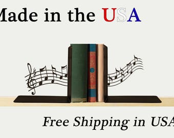 Music Bookends, Music Decor, Treble Clef, Metal Art, Book Shelf, Library, Home Decor, Free USA Shipping, BE1026